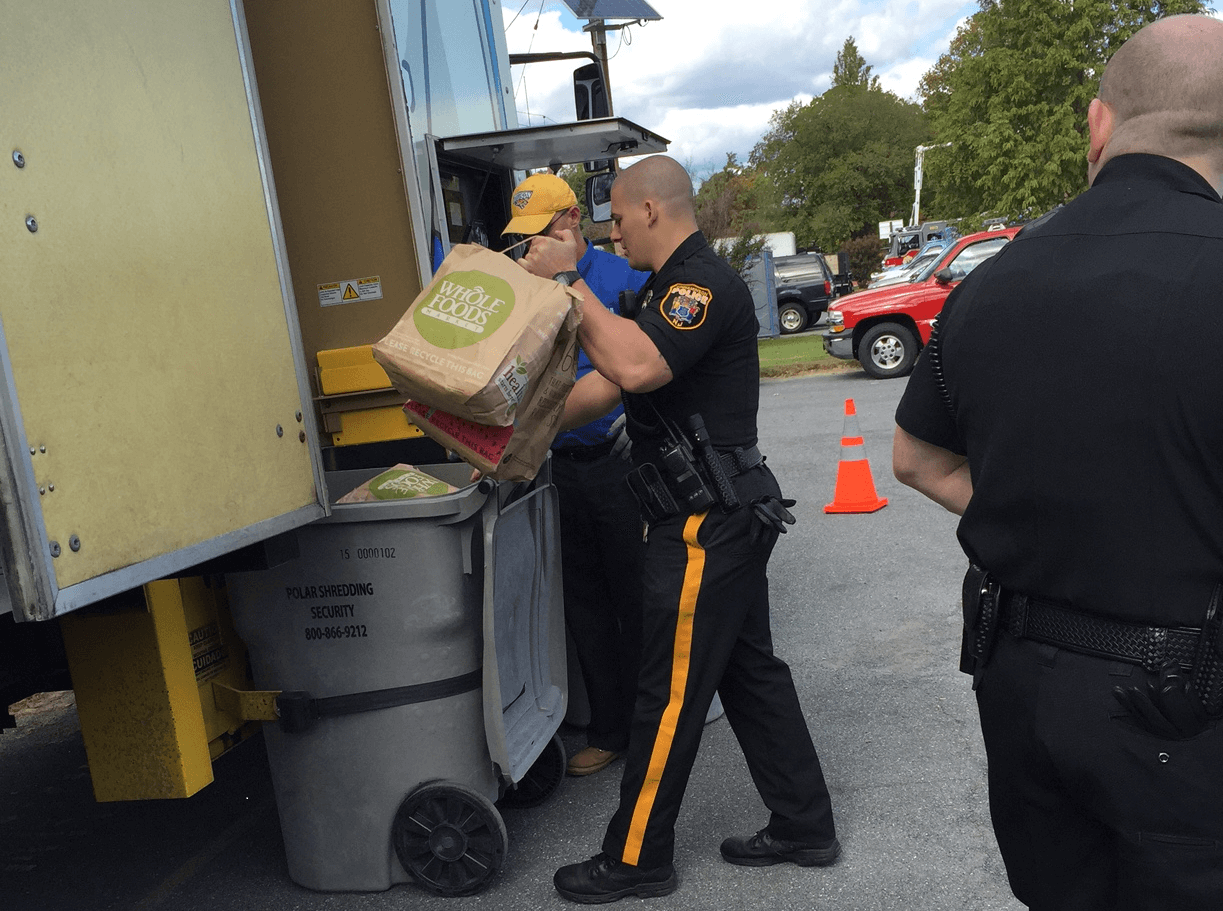 Police using Polar Shredding at a Shred Event